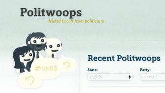Screenshot of Politwoops website by the Sunlight Foundation