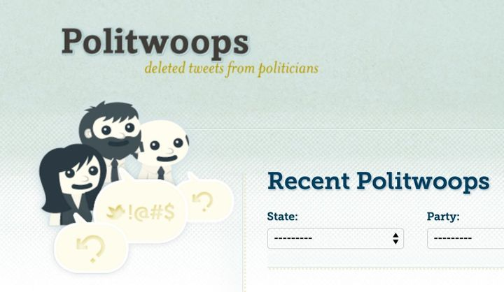 A screenshot from the Politwoops website. Twitter forced the site to stop publishing deleted tweets from elected officia