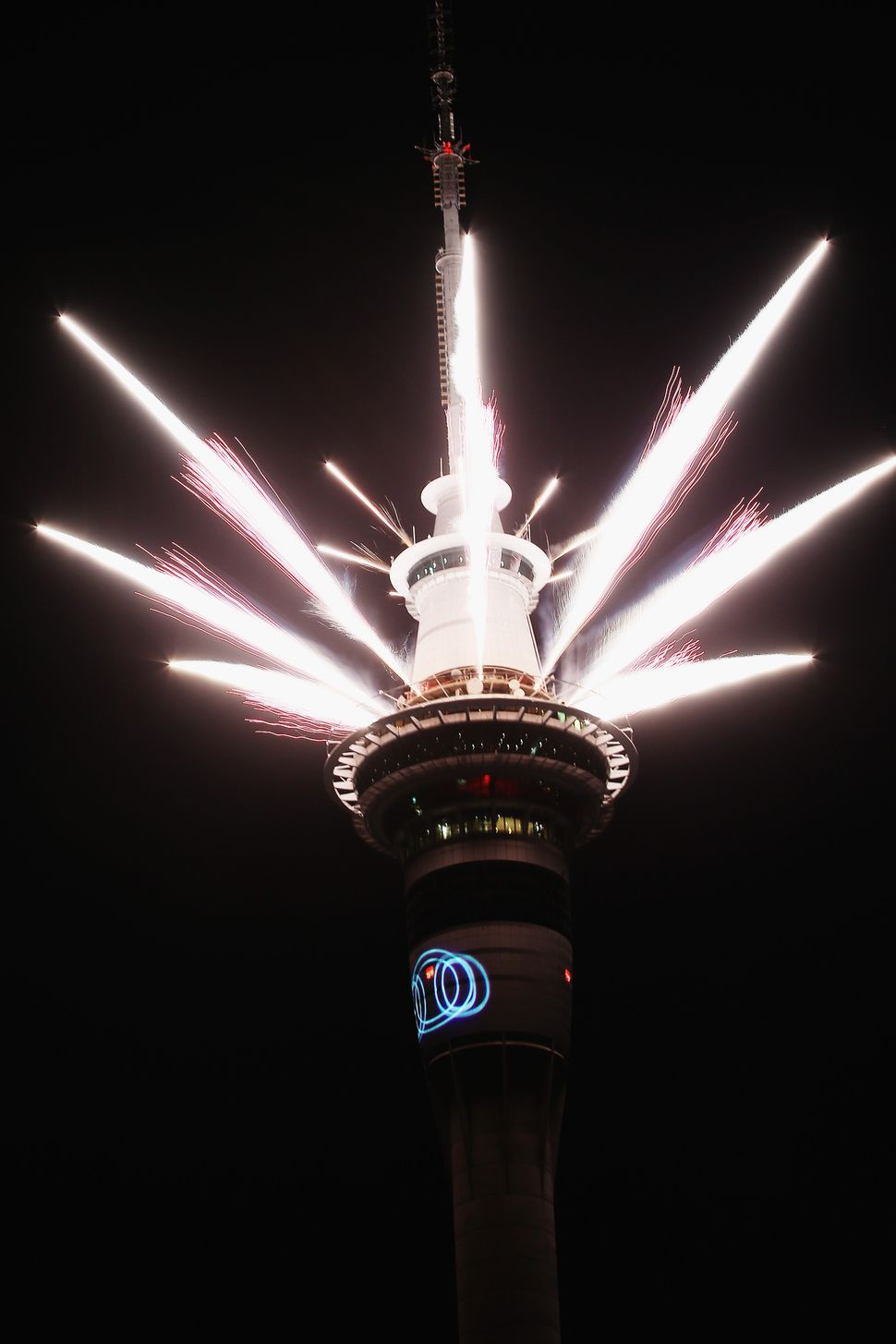 A fireworks display is launched from the Auckland Sky Tower during New Year's Eve celebrations on Jan. 1, 2016, in Auckland,