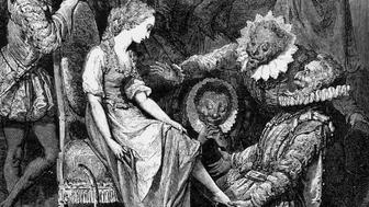 Cinderella tries on the glass slipper in this 19th century engraving of Gustave Doré's Cendrillon.