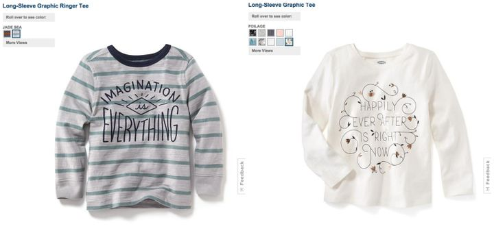 On the left, an Old Navy shirt for boys that touts the power of imagination. On the right, a girls' shirt about hap