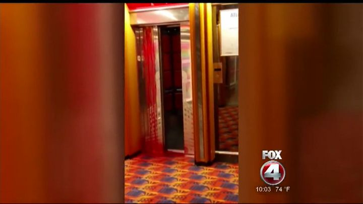 Blood appears dripping down a Carnival cruise ship's elevator following a 66-year-old employee's death.