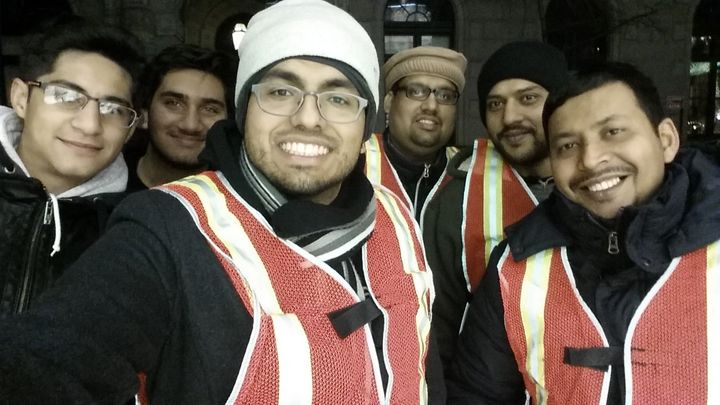 A group from the Ahmadiyya Muslim Youth Association USA in Times Square in the early morning of New Year's Day in 2