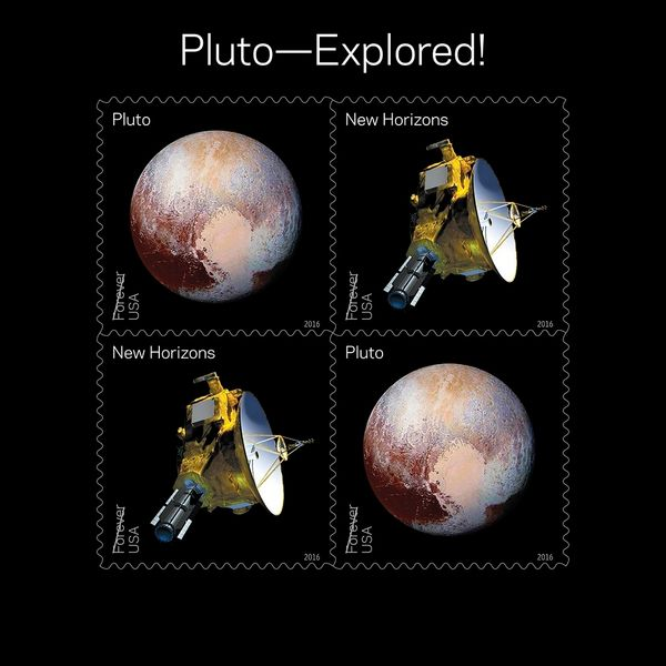"In 2006, NASA placed a 29-cent 1991 ""Pluto: Not Yet Explored"" stamp in the New Horizons spacecraft. In 2015 the spacecraft ca"