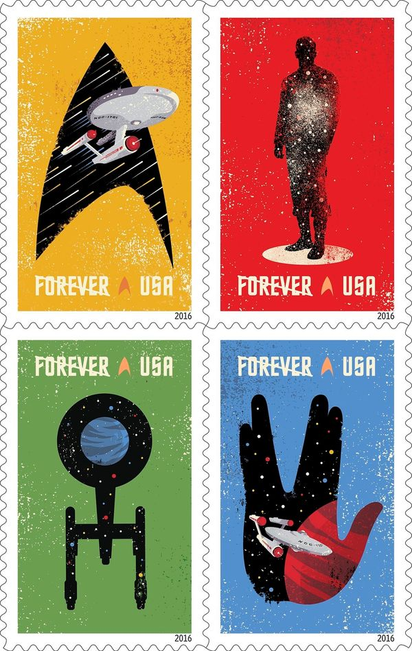 "Celebrating the 50th anniversary of the television premiere, the new ""Star Trek"" Forever stamps <a href=""http://about.usps.co"