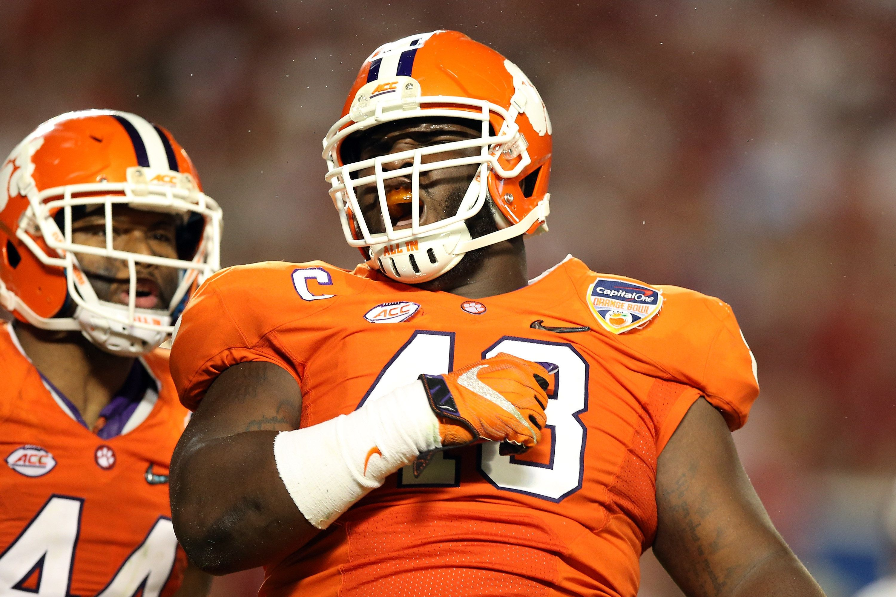 MIAMI GARDENS, FL - DECEMBER 31:  D.J. Reader #48 of the Clemson Tigers reacts in the second half against the Oklahoma Sooners during the 2015 Capital One Orange Bowl at Sun Life Stadium on December 31, 2015 in Miami Gardens, Florida.  (Photo by Andy Lyons/Getty Images)