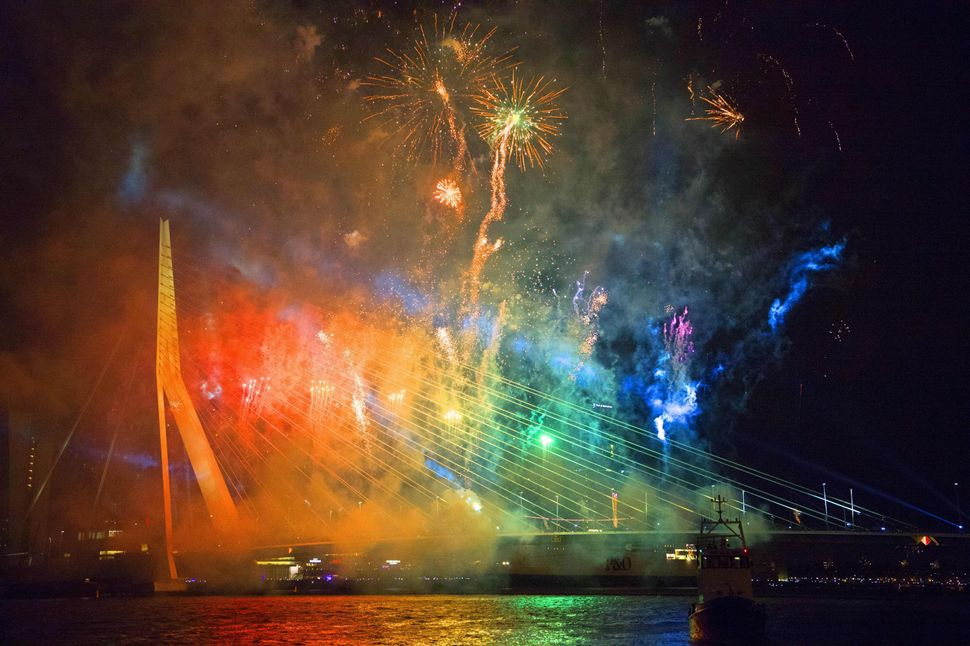 A photo taken on January 1, 2016 shows fireworks over the Erasmusbrug (Erasmus Bridge) during New Year's Eve in Rotterdam.