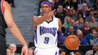 SACRAMENTO, CA - DECEMBER 27: Rajon Rondo #9 of the Sacramento Kings handles the ball against the Portland Trail Blazers on December 27, 2015 at Sleep Train Arena in Sacramento, California. NOTE TO USER: User expressly acknowledges and agrees that, by downloading and or using this photograph, User is consenting to the terms and conditions of the Getty Images Agreement. Mandatory Copyright Notice: Copyright 2015 NBAE (Photo by Rocky Widner/NBAE via Getty Images)