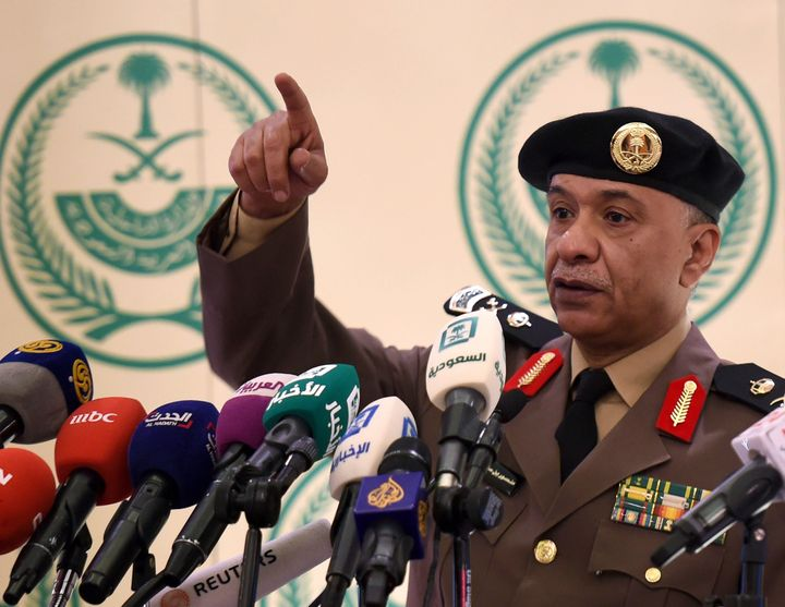 Saudi Interior Ministry's spokesman Mansur al-Turki gestures during a news conference at the Saudi Officers club in Riyadh, o