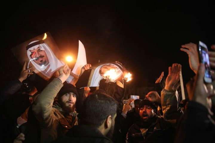Iranian protesters gather outside the Saudi Embassy in Tehran during a demonstration against the execution of prominent Shiit