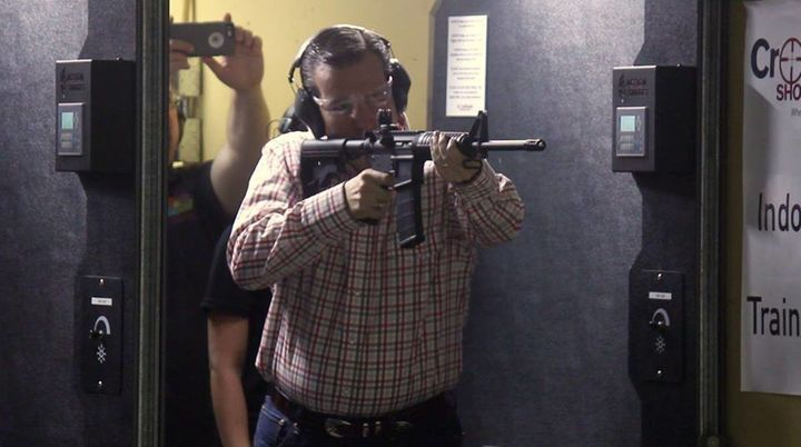 Sen. Ted Cruz (R-Texas) firing off rounds on a semiautomatic .223-caliber Smith and Wesson M&P15 at a campaign event