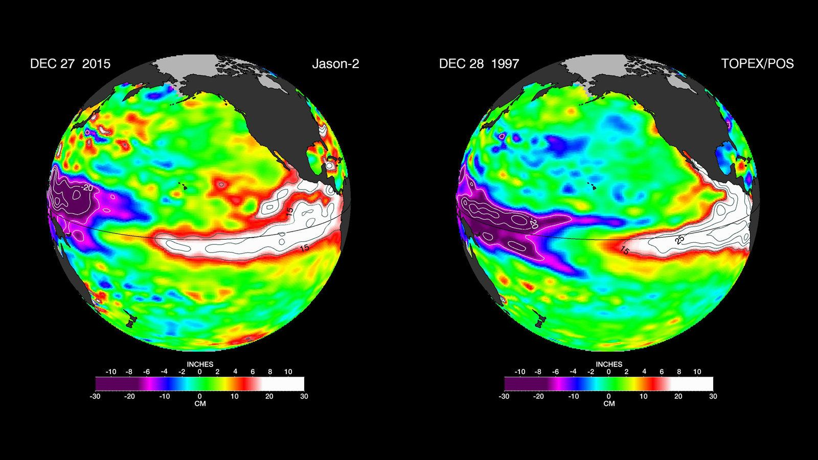 The latest satellite image of Pacific sea surface heights (left) differs slightly from one 18 years ago (right). In Dec. 1997
