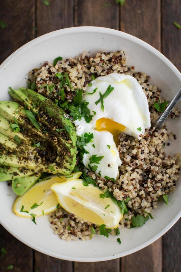 "<strong>Get the <a href=""http://naturallyella.com/quinoa-bowl/"">Quinoa Bowl with Za'atar Avocado and Egg recipe</a>&nbs"