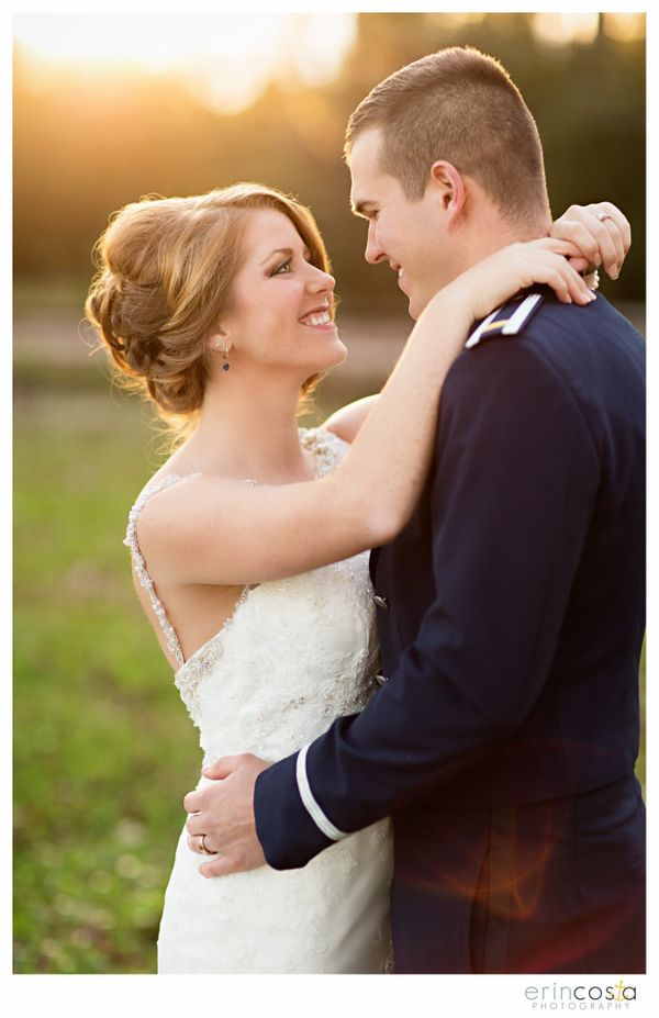 """""""Jessica andJohn had a beautiful winter day at Camp Lejeune for their military wedding at the Officers Club."""" -Er"""