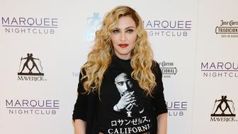 LAS VEGAS, NV - OCTOBER 25:  Singer Madonna arrives at the Marquee Nightclub at The Cosmopolitan of Las Vegas to host an after party for her Rebel Heart Tour concert stop on October 25, 2015 in Las Vegas, Nevada.