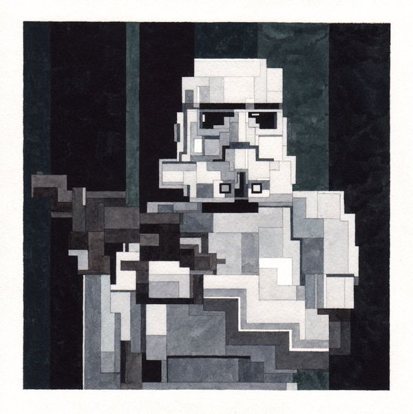 Here's hoping there is a pixelated version of Finn under that Stormtrooper helmet.