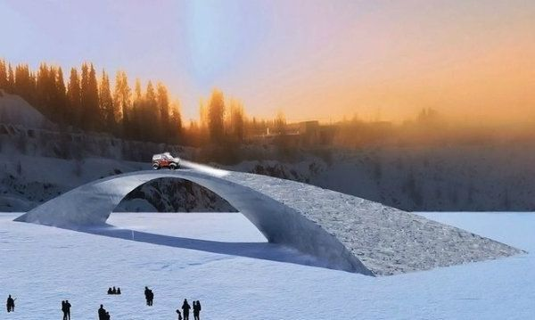 "Rendering of ""Bridge in Ice,"" the construction inspired by a Leonardo da Vinci design."