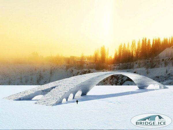 """Rendering of """"Bridge in Ice,"""" the ice bridge inspired by design by Leonardo da Vinci."""