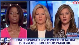 Fox News contributors Deneen Borelli, far left, and Attorney Jessica Ehrlich, far right, debated whether Oregon's armed activists are patriotic or terrorists.