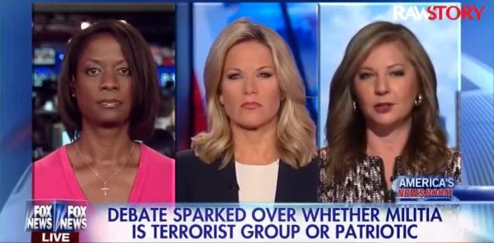 Fox News contributors Deneen Borelli, far left, and Jessica Ehrlich, far right, debated whether Oregon's armed militants&nbsp