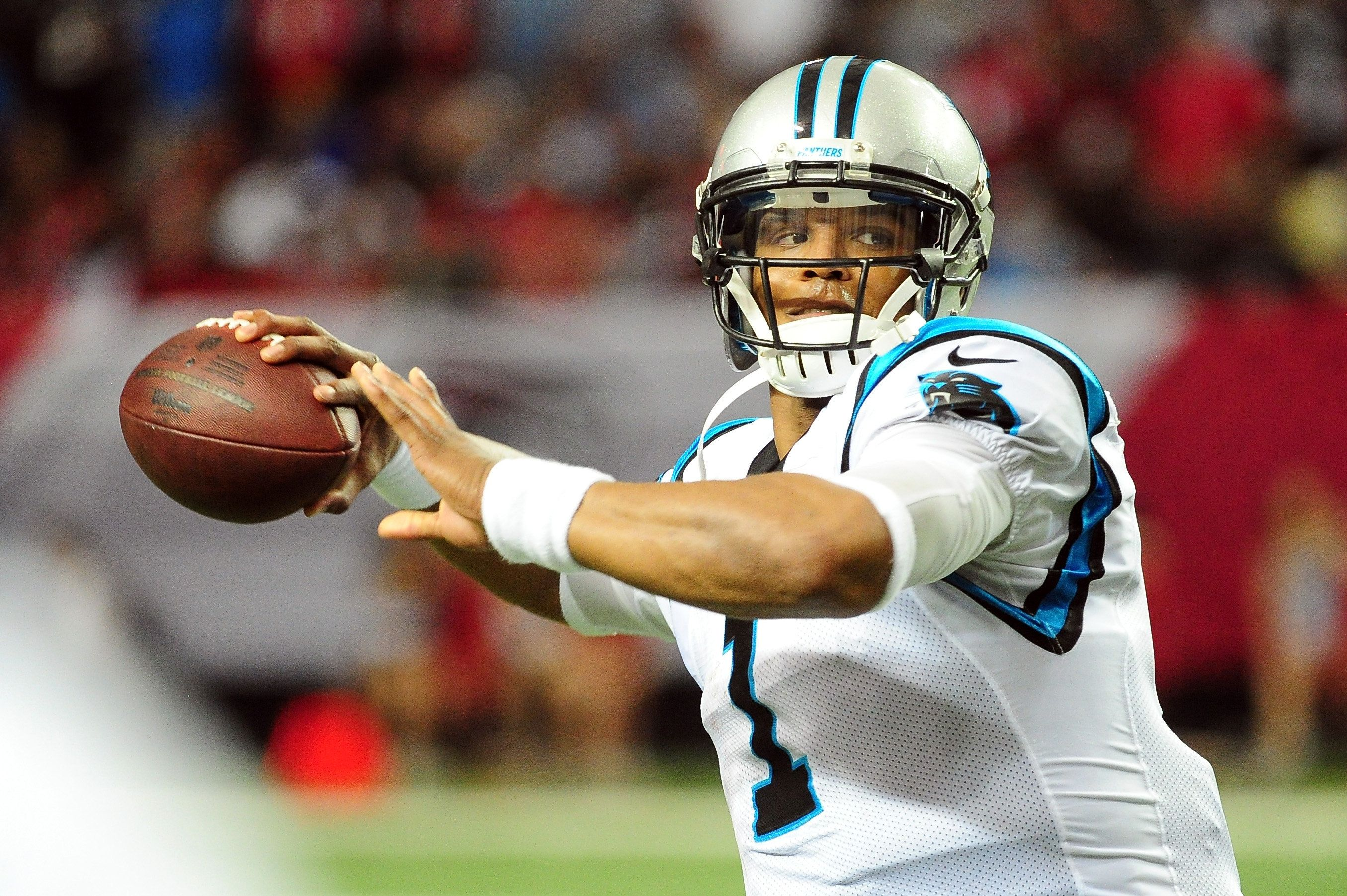 ATLANTA, GA - DECEMBER 27: Cam Newton #1 of the Carolina Panthers throws a pass during the second half against the Atlanta Falconss at the Georgia Dome on December 27, 2015 in Atlanta, Georgia.  (Photo by Scott Cunningham/Getty Images)