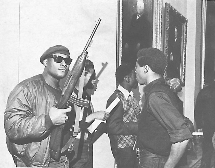 Members of the Black Panthers hold guns during the group's protest at the California Assembly in May 1967.