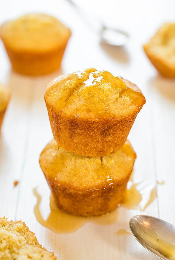"<strong>Get the <a href=""http://www.averiecooks.com/2014/08/honey-cornbread-muffins.html"">Honey Cornbread Muffins recipe</a>"