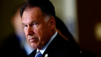 District Attorney Tony Rackauckas speaks to media after appearing in court for the prosecution against Saudi princess Meshael Alayban, 42, who is charged with human trafficking for allegedly keeping a Kenyan woman as a domestic servant against her will in an Irvine apartment complex.  (Photo by Irfan Khan/Los Angeles Times via Getty Images)