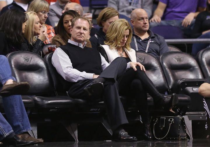 Sarver sits courtside as the Suns take on the Los Angeles Clippers on Jan. 24, 2013, in Phoenix, Arizona.