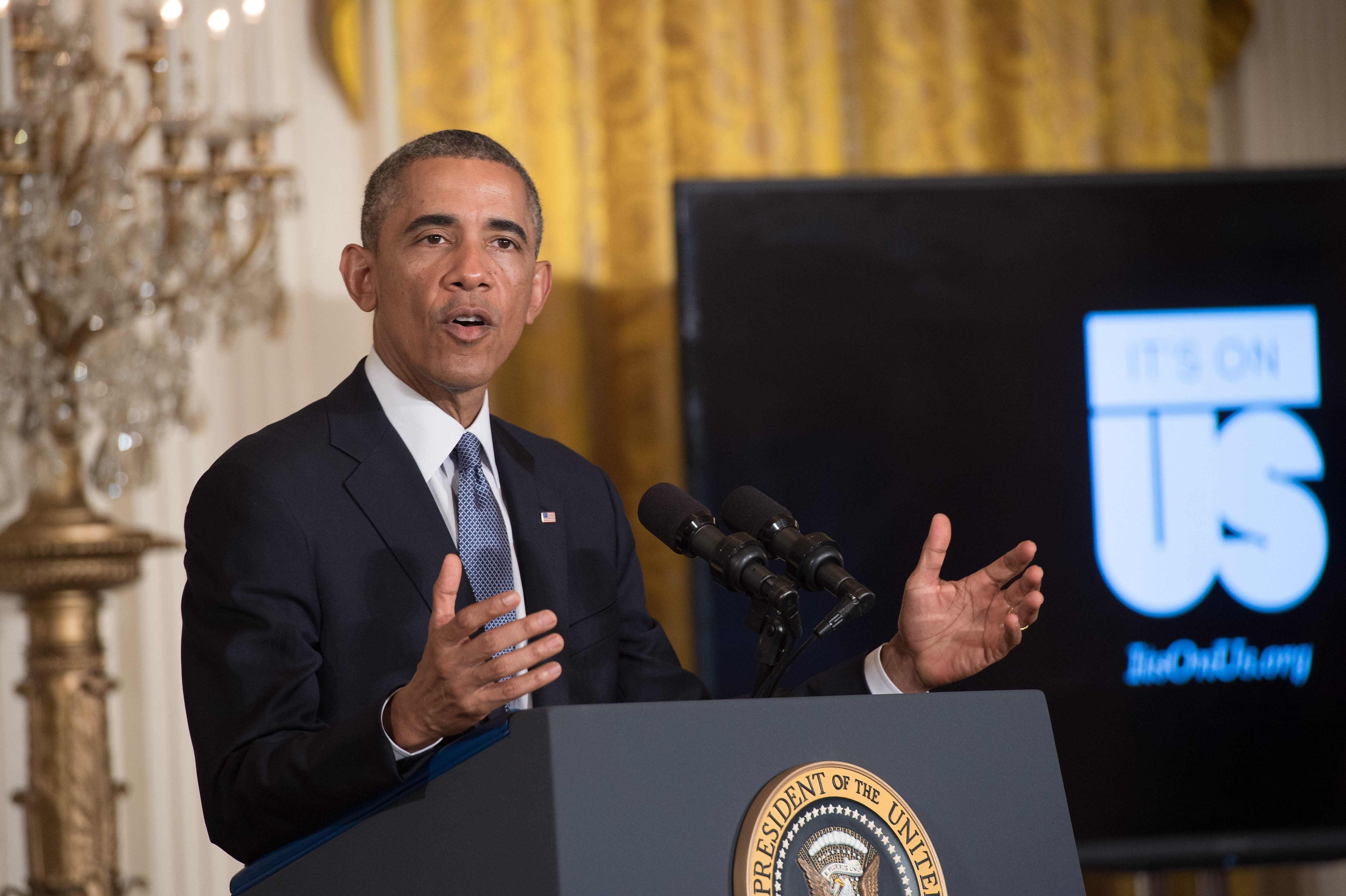 US President Barack Obama speaks at the launch of the 'It's On Us' campaign to prevent sexual assault on college campuses at the White House in Washington on September 19, 2014.   AFP PHOTO/Nicholas KAMM        (Photo credit should read NICHOLAS KAMM/AFP/Getty Images)