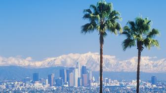 Two palm trees, Los Angeles and snowy Mount Baldy as seen from the Baldwin Hills, Los Angeles, California (Photo by Visions of America/UIG via Getty Images)