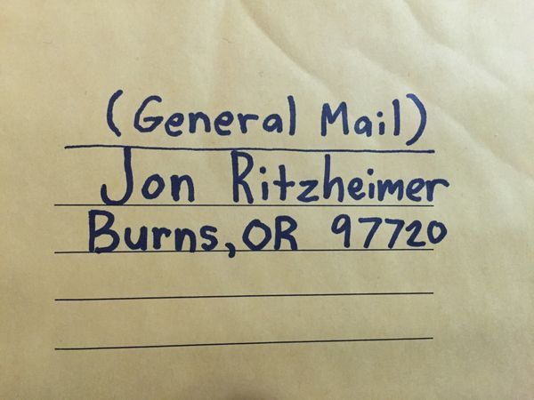 This is the address provided in the Facebook post mentioned above. Apparently in Burns, OR, the mailman knows where to find e