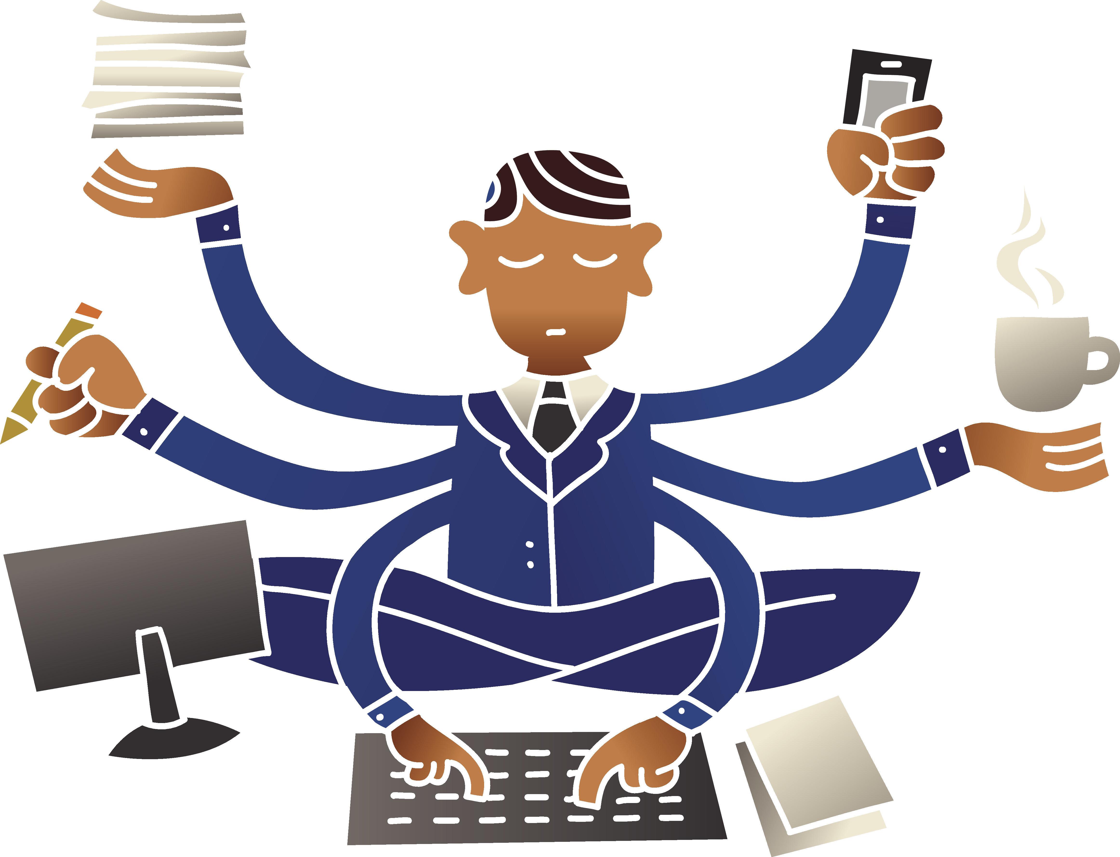 Businessman multitasking at work.