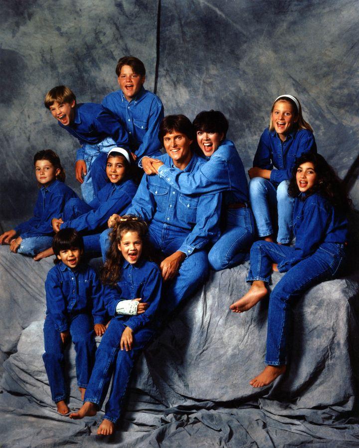 Brody Jenner, Kourtney Kardashian, Bruce Jenner, Kris Jenner, Cassandra Jenner, Kim Kardashian, Brandon Jenner, Burton Jenner, Robert Kardashian, Jr. and Khloe Kardashian pose for a family portrait in 1991.