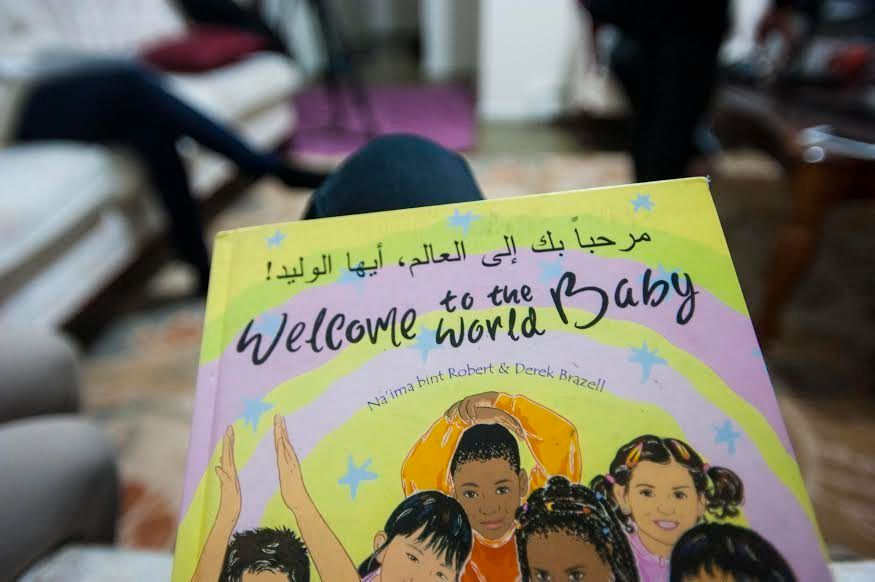 An English-language picture book with Arabic subtitleshelps Hajar (6th grade) learn the language.