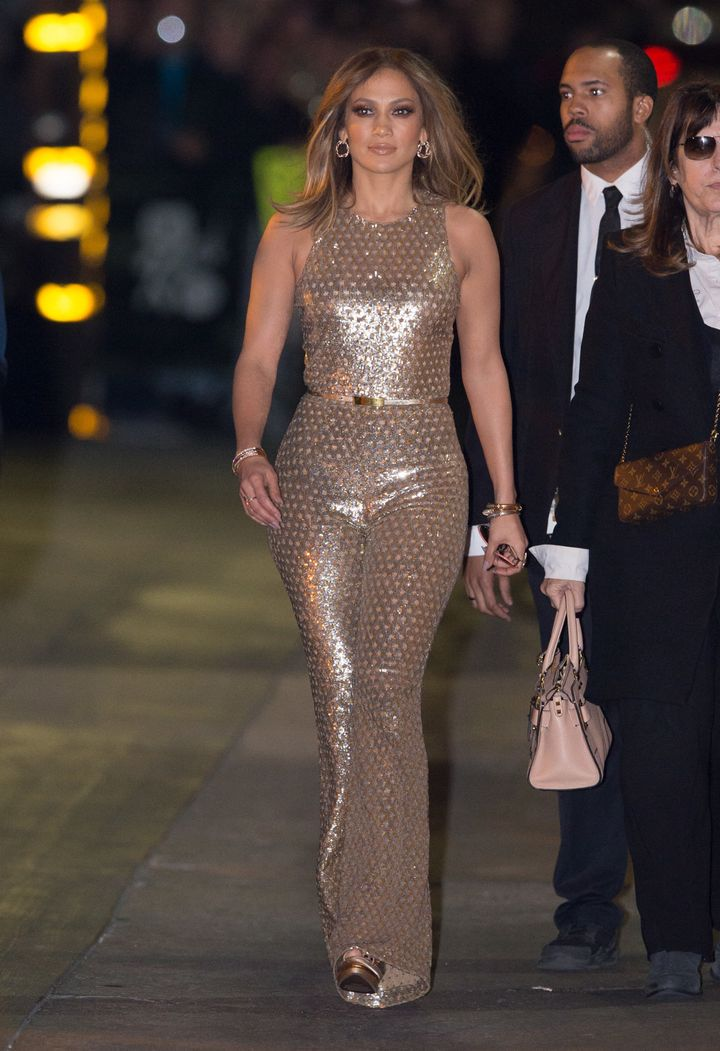 a33c365fddcb Only Jennifer Lopez Looks This Good In A Gold Jumpsuit