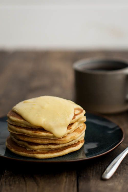 """<strong>Get the <a href=""""http://naturallyella.com/cornbread-pancakes-with-maple-lemon-curd/"""">Cornbread Pancakes with Maple-Le"""