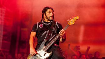 CHICAGO, IL - AUGUST 01:  Robert Trujillo of Metallica performs during 2015 Lollapalooza Day Two  at Grant Park on August 1, 2015 in Chicago, Illinois.  (Photo by Barry Brecheisen/WireImage)