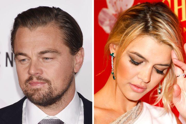 Photo of Leonardo DiCaprio by Jeffrey Mayer/WireImage, Photo of Kelly Rohrbach by Franziska Krug/Getty Images for Mon Cheri