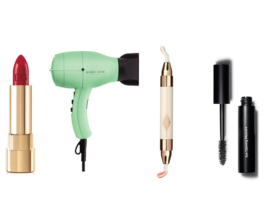 The beauty products every grown woman should own, including red lipstick, a hair dryer, concealer and mascara.