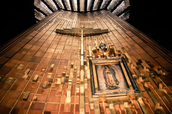 "This <a href=""http://www.cruxnow.com/faith/2014/12/12/four-awesome-facts-about-our-lady-of-guadalupe/"">basilica</a> houses a"