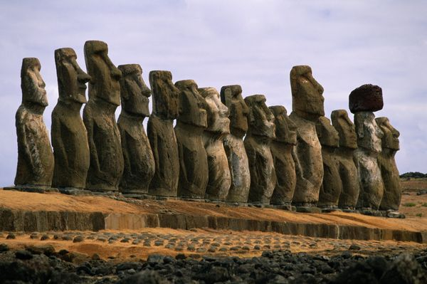 "These 13-foot high statues, called moai, are <a href=""http://www.pbs.org/wgbh/nova/easter/civilization/giants.html"">carved</a"