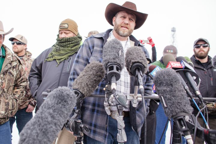 Ammon Bundy addresses the press during the armed occupation of a national wildlife refuge in Oregon.