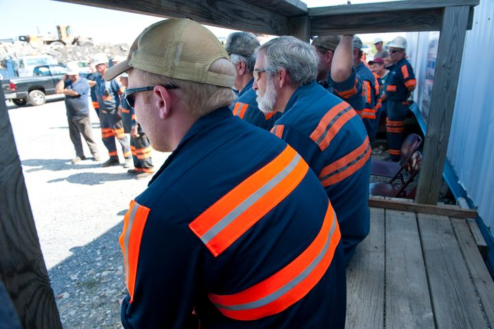 Workers at the West Virginia Patriot mining operations at the Guston strip mine just outside of Starcity West Virginia on Aug