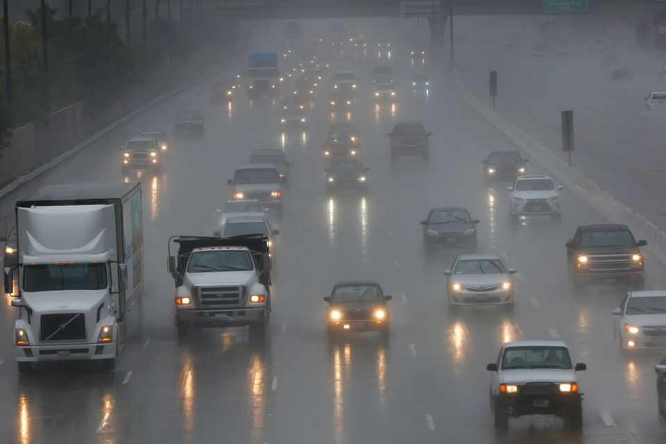 Traffic in Anaheim, California, was snarled as rainfall caused delays throughout the region.