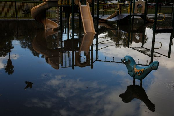 A playground sits flooded in Los Angeles after the rains subsided.