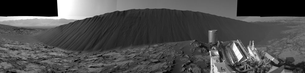 "This view from NASA's Curiosity Mars Rover shows the downwind side of the ""Namib Dune."""