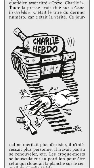 A cartoon in Charlie Hebdo's special edition depicts a militant rolled over by a Charlie Hebdo tank.