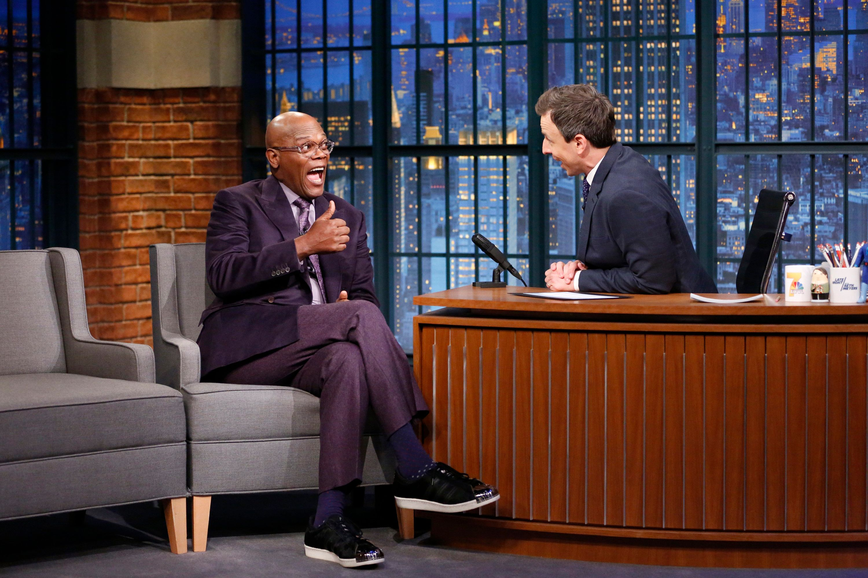 LATE NIGHT WITH SETH MEYERS -- Episode 306 -- Pictured: (l-r) Actor Samuel L. Jackson during an interview with host Seth Meyers on January 5, 2016 -- (Photo by: Jon Pack/NBC/NBCU Photo Bank via Getty Images)