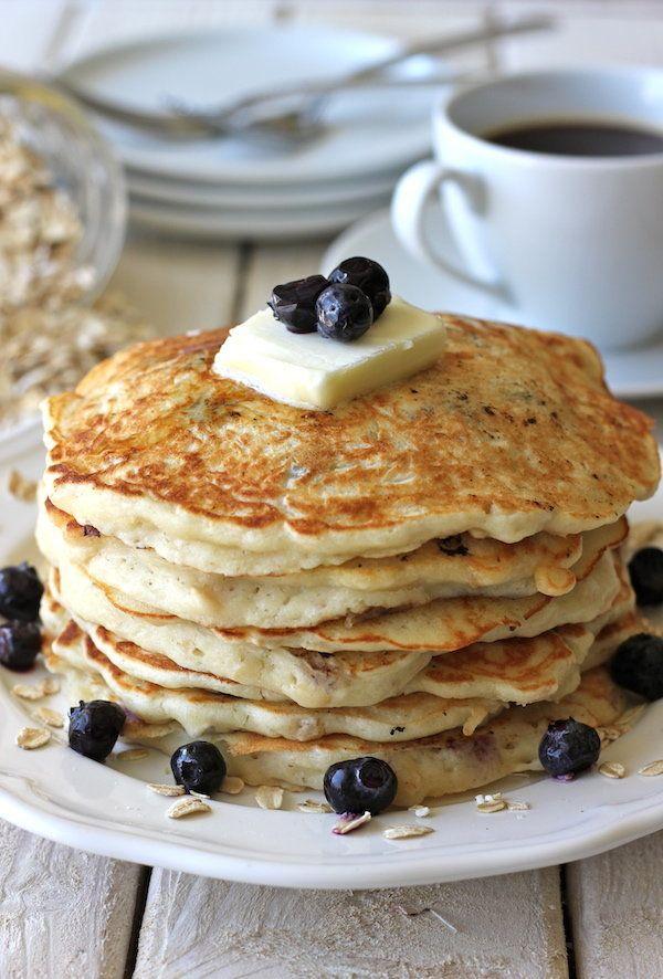 "<strong>Get the <a href=""http://damndelicious.net/2012/10/18/blueberry-oatmeal-yogurt-pancakes/"">Blueberry Oatmeal Yogurt Pan"